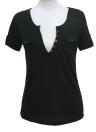 Sexy Damen T-shirt mit tiefem V-Ausschnitt kurzen Ärmeln Taste Pullover schlanke lässige Bluse Clubwear Top weiß/schwarz