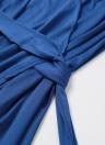 Mulheres Sexy vestido Midi Cross Ruched correia dianteira da v-garganta profunda meia manga Club festa vestido preto/azul