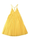 Casual Pleated V-Neck Backless Spaghetti Strap Halter Yellow Dress