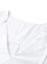 Las nuevas mujeres de la blusa con cuello en V de manga larga con pliegues Volver dobladillo asimétrico Femenina Tops Blanco