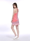 Summer Print Dual Spaghetti Strap Plunge V Neck Halter Backless Mini Dress