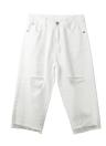 Donne Distressed strappato boyfriend jeans jeans pantaloni potati Pantaloni Mid salita denim bianco
