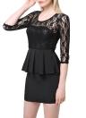 Elegant Lace Splice Hollow Out Pleated Peplum Bodycon Black Dress