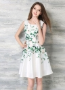 Vintage Floral Print Round Neck Sleeveless Back Zipper Swing Dress