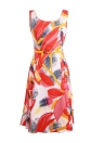 Vintage Floral Print Sleeveless O Neck Slim Lady A Line Swing Dress with Belt