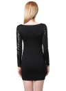 Fashion PU Splice Elegant Bodycon Mini Black Dress