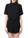 Nueva moda mujer mono corta cuello espalda manga corta pijama suelto Casual sólido mamelucos Culotte negro