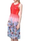 Elegant Chiffon Lace Panel Floral Print Color Block Pleated Midi Dress