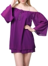 Chic Off Shoulder Spaghetti Strap Front Draped Sleeves Chiffon Swing Dress