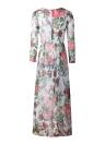 Summer Fashion Rose Bird Print O Neck Long Sleeve Chiffon Maxi Dress