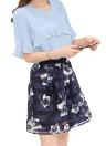 Moda volantes Flare manga de gasa superior de malla de impresión de flores falda Twinset vestido