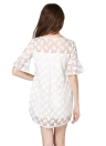 Fashion Dragonfly Feather Broderie Flare Sleeve Sheer Shift Robe blanche