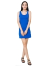 Casual Solid Color O Neck Sans manches Stretchy Bodycon Blue Mini Dress