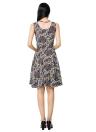 Vintage Floral Print Color Block Round Neck Sleeveless Mini Dress