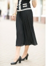 Chic Pleated Chiffon Elastic Waist Capris Flare Cropped Black Wide Leg Pants