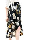 Moda gasa de las mujeres falda de flores de época impresión bajo asimétrico botón de cierre de la correa de la guarnición falda de Midi Negro