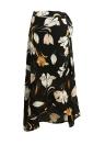 Mulheres Moda Chiffon saia floral vintage impressão Hem assimétrico Botão Encerramento Belt Forro Midi saia preta