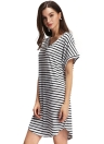 Casual Stripe V Neck Short Batwing Sleeve Curve Hem Mini Dress