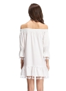 Sexy Off Shoulder Stretch Trim Tassel Hem Mini White Shift Dress
