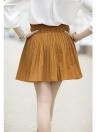Elegante cintura elástica de alta una línea de pantalones largos plisados Culottes pantalones cortos