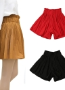 Chic High Elastic Waist A Line Pleated Wide Leg Pantskirt Culottes Shorts