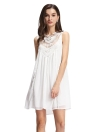 Sexy Crochet Mesh Lace Splicing Hollow Out Chiffon White Shift Dress