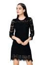 Elegant Solid O Neck 3/4 Sleeve Zipper Closure Hollow Out Mini Lace Dress