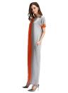 Fashion Women Contrast Color Pocket O-Neck Long Maxi Dress