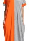 Moda Mulheres Contrast Color Pocket O-Neck Long Maxi Dress
