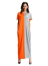 Mode Frauen Kontrastfarbe Tasche O-Neck langes Maxikleid