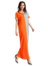 Мода Женщины Контраст Цвет Карман O-образным вырезом Длинные Макс платье