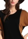 Casual Color Block Short Batwing Sleeve Mini Summer Stretchy Dress