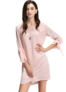 Elegant O-Neck Rolled Sleeve Back Zipper Lining Solid Mini Shift Pink Dress