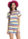 Casual Contrast Stripe Round Neck Short Sleeve Elastic Waist Romper