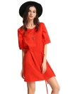 Solid Fashion V Neck Half Sleeve Strap Plus Size Casual Mini Dress