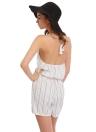 Las mujeres atractivas del verano del mono del cortocircuito de la raya del halter del hombro y espalda abierta mangas elástico de la cintura PLAYSUIT mamelucos ocasionales blancos