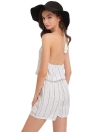 Stripe Halter Off Shoulder Backless Sleeveless Elastic Waist White Rompers