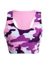 Sexy Camo Print Backless O-Neck Fitness Yogo Gym Sports Crop Top