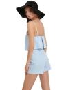 Новая мода Женщины Комбинезоны Ruffles открытый сзади Регулируемая бретельках Zipper Упругие рукавов Rompers Синий костюм для подвижных игр