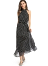 Halter White Dot Black Long Chiffon Dress