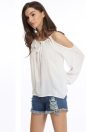 New Fashion Women Blouse Sexy Off Shoulder Auto-Tie V Neck Long Lantern Sleeve Solid Color Casual T-Shirt Tee Blouse Blanc