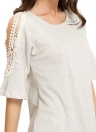 Cut Out Lace Decorated Half Sleeves T-shirt