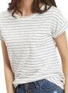 T-shirt a righe da donna T-shirt casual stampata T-shirt in tessuto a maniche corte