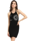 Sexy Sun Moon Halter Backless Mini Dress