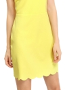 Botón de las mujeres del vestido de la nueva manera ahueca hacia fuera la concha de peregrino Hem Volver cremallera de cierre de cuello redondo con hombros mini vestido amarillo