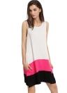 Новая мода женщины Мини платье для сращивания вокруг шеи рукавов вскользь Сыпучие Танк платье Белый