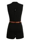 Femmes Sexy Lace Sheer Jumpsuit col haut épaule froide sans manches Ceinture moulante Slim Playsuit Romper