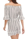 Off Shoulder Stripe Chiffon Short Jumpsuit