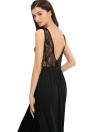 Новая мода женщины Макси платье сетка лиф Глубокий V Back Side High Расколы рукавов Sexy One Piece Черный