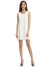 Новая мода женщины без рукавов шифон платье сплошного цвета смычка партии Мини Straight летнее платье Повседневный Sundress Белый